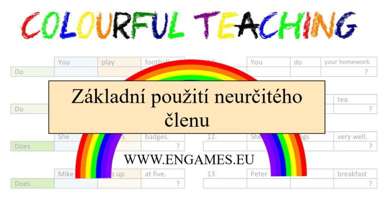 Colourful teaching neurčitý člen